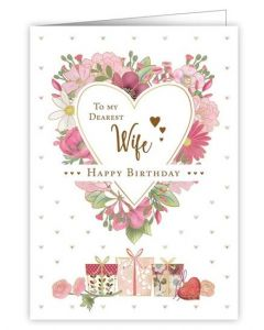 Wife Birthday - Floral bordered Heart