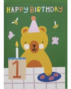 AGE 1 Card - Birthday Bear