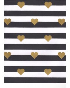 Folded Wrapping Paper - Hearts & Stripes