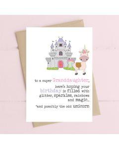 GRANDDAUGHTER Card - Unicorn